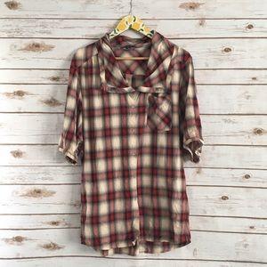 Vince Multicolor Plaid Button Front Shirt Medium